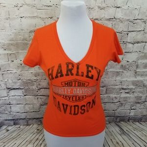Harley Davidson Womens L Orange Motorcycles Vneck